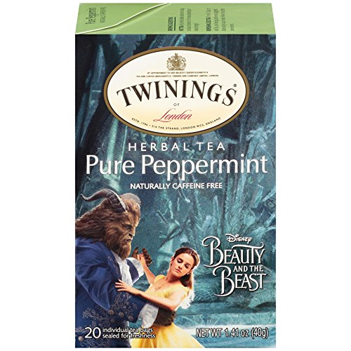 Twinings Pure Peppermint Herbal Tea with Disney's Beauty and the Beast Graphics, 20 Count Tea Bags - Pack of ()