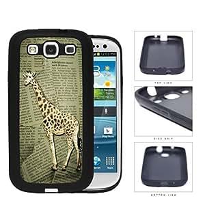 Safari Giraffe On Scrap Newspaper Rubber Silicone TPU Cell Phone Case Samsung Galaxy S3 SIII I9300