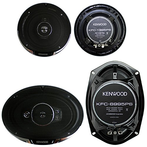 "2) Kenwood KFC-1395PS 5.25"" 320W 3-Way + 2) 6x9"" 650W 5-Way Car Coaxial Speakers"