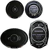 2) Kenwood KFC-1395PS 5.25 320W 3-Way + 2) 6x9 650W 5-Way Car Coaxial Speakers