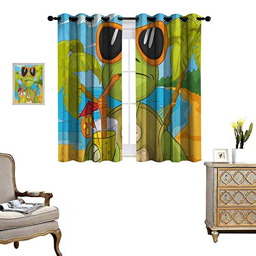 - Turtle Waterproof Window Curtain Cool Sea Turtle with Sunglasses Drinking Cocktail at The Beach Cartoon Blackout Draperies for Bedroom W55 x L63 Green Orange Pale Blue