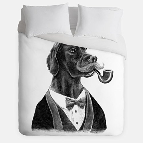 Dapper Dog Duvet Cover / Animal Bedroom Decor / Made in USA / Great Bedroom Artwork by Fuzzy Ink