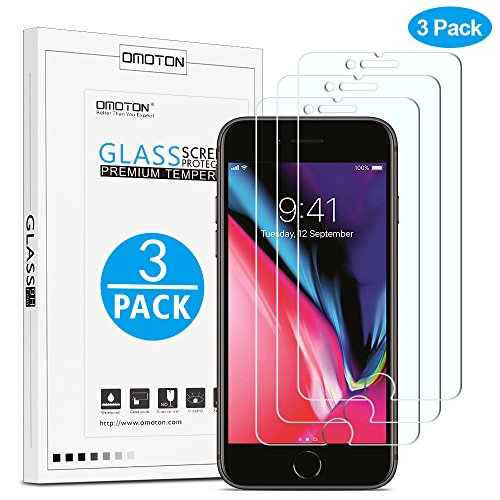 [3 pack] OMOTON Tempered Glass Screen Protector for iPhone 8 Plus / iPhone...