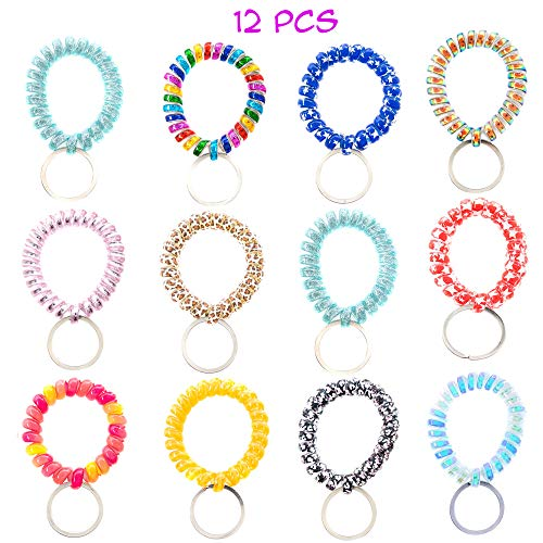 - 12 PCs Pack Spiral Coil Telephone Wire Cord Stretch Spring Bracelet Key Ring/Key Chain/Key Hook/Key Holder for Gym, Pool, ID Badge and Outdoor Sports - Great Party Favors, Stocking Stuffers (Printed)
