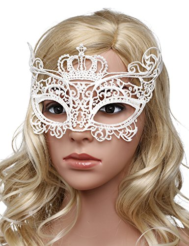 [Jevenis Luxury Mask Sexy Lace Eyemask Eye Mask Lace Sexy Mask for Halloween Masquerade Party Costume Mask Masquerade For Women] (Halloween Costumes White Eyes)