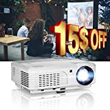 EUG HD Multimedia 1080P Projector Home Theater 1280x800 Native 3600 Lumen Portable LED Digital Movie TV Projectors with HDMI/USB/Ypbpr/RCA Audio/Speakers/Zoom/Keystone for Laptop TV Stick Roku DVD PS4