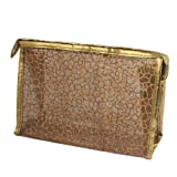 Rosallini Brown PU Plastic Glittery Mesh Zipper Makeup Cosmetic Bag for Lady Girls, Bags Central