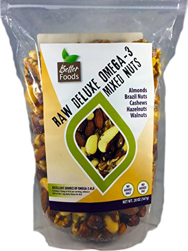 - Raw Unsalted Deluxe Omega 3 Mixed Nuts (Almonds, Brazil Nuts, Cashews, Hazelnuts and Walnuts)