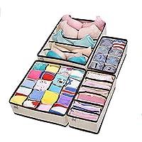 Collapsible Storage Boxes Bra Underwear Closet Organizer Drawer Divider 4 set,