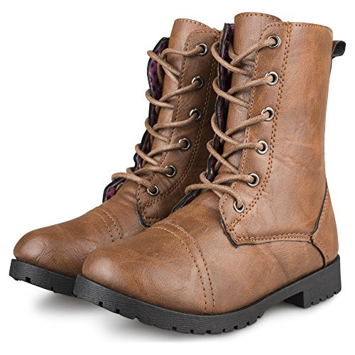 Chillipop Combat Boots for Junior Girls – Mid-Calf, Printed Lining, Brown