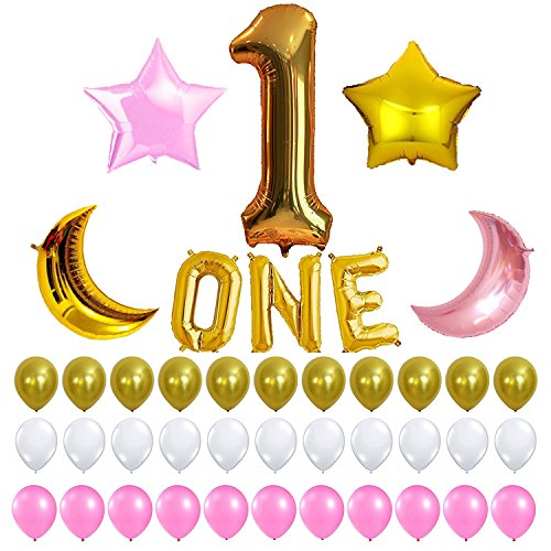 1st Birthday Party Balloon Decoration Kit, One Letter, Number 1 ONE Balloon, Pink Gold and White, Perfect Decorations Supplies for Your Baby's First Bday Boy or Girl Ballons Package FREE PARTY PLANNER