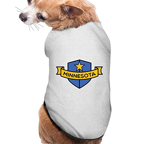 Minnesota Shield Summer Costumes  Clothing  Shirt  Vest  T Shirt  Puppy Pet Dog Cat Fashion 100  Polyester Fiber Tee Gift For Any Animal Fan Lovers Ash Medium