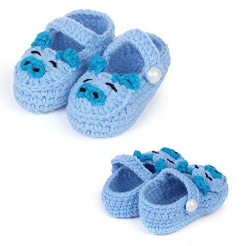 FuzzyGreen Cute Pig Baby Newborn Infant Girl Boy Handmade Knitting Crochet Pre Walker Toddler Buckle Shoes Socks Booties(Sky Blue)]()