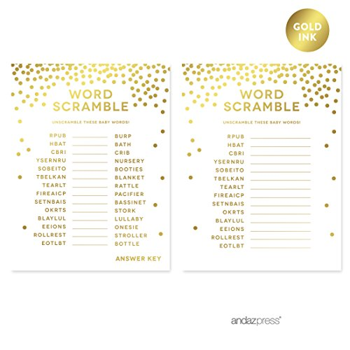 Andaz Press Metallic Gold Confetti Polka Dots Party Collection, Baby Shower Word Scramble Game Cards, -
