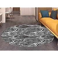 Zebra Print Round Area Rug Carpet Striped Zebra Animal Print Nature Wildlife Inspired Simplistic Illustration Living Dining Room Bedroom Hallway Office Carpet Black White