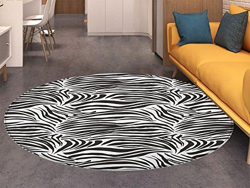Zebra Print Round Area Rug Striped Zebra Animal Print Nature Wildlife Inspired Simplistic Illustration Indoor/Outdoor Round Area Rug Black White
