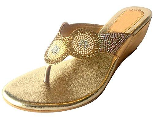 Schritt N Style Damen Schuhe Strass Kristall Braut Sandalen Rutschfest auf Keil indischen ethnischen Schuhe Gold Antique