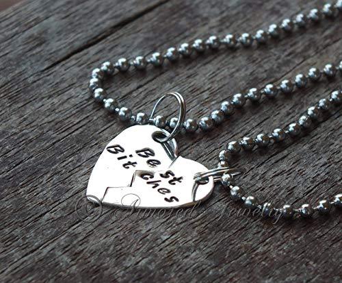 (MATURE CONTENT - Sterling Silver - Best Bitches necklace set Pendant Split heart)