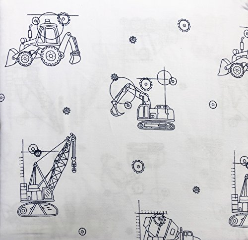 Boy Zone Bedding Kids 3 Piece Twin Size Single Bed Cotton Sheet Set Construction Equipment Tractors Cement Trucks Line Drawings Dark Blue on White