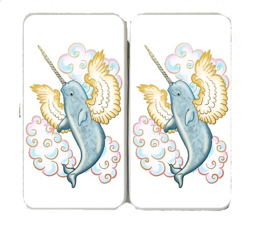 (Flying Whale Narwhal Flying w/ Wings in Clouds - Taiga Hinge Wallet Clutch)