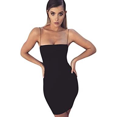 Minisoya Women Sleeveless Zipper Night Out Clubwear Evening Party Backless Bodycon Sheath Pencil Sling Mini Dress