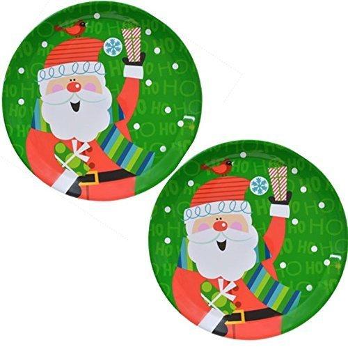 Christmas Trays Set of 2 Large Round Santa Decorative Des...