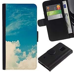 WINCASE (No Para S5 Mini) Cuadro Funda Voltear Cuero Ranura Tarjetas TPU Carcasas Protectora Cover Case Para Samsung Galaxy S5 V SM-G900 - nubes blancas cielo cubo dios