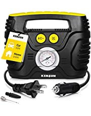 Kensun AC/DC Tire Inflator Portable Air Compressor Pump for Car 12V DC and Home 110V AC Swift Performance Inflator for Car, Bicycle, Motorcycle, Basketball and Others