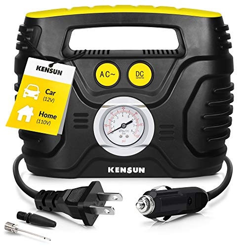 Kensun Portable Air Compressor Pump for Car 12V DC and Home 110V AC Swift Performance Tire Inflator 120 PSI for Car - Bicycle - Motorcycle - Basketball and Others with Analog Pressure Gauge (AC/DC) (Best Air Compressor Inflator)