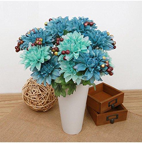 Besde Ivory Dahlia Fake Silk Flower Garden Bouquet Wedding Party Gift Home Decoration (blue)