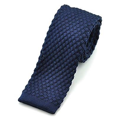 """PenSee Casual Mens Solid Navy Blue Slim 2.16"""" Skinny Knit Tie"""