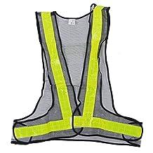 SODIAL(R)Hi-Viz Reflective Vest High Visibility Warning Traffic Construction Safety Gear Black Yellow