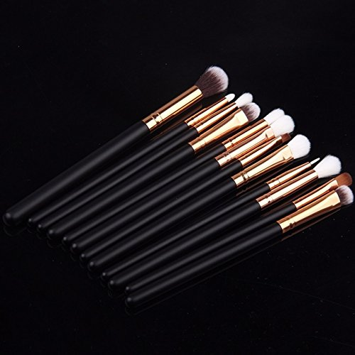 12 Piece Makeup Brushes Set Powder Eyeshadow Eyeliner Lip Make Up Tools Professional Natural Beauty Palette Significant Popular Eyes Faced Colorful Rainbow Hair Highlights Glitter Travel Kit, Type-01