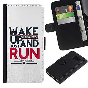 Billetera de Cuero Caso Titular de la tarjeta Carcasa Funda para Samsung Galaxy S6 SM-G920 / Run Running Sports Motivational / STRONG