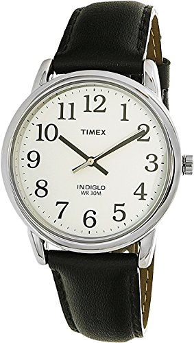 Timex Men's T205019J Easy Reader Black Leather Strap Watch