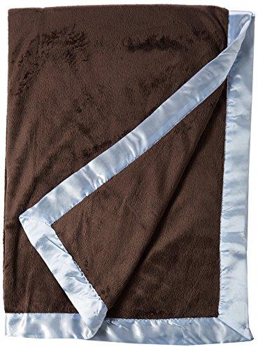 Go Mama Go Designs Oversized Chocolate Minky with Blue Satin Trim Toddler Blanket, Chocolate/Blue - Minky Toddler Blanket