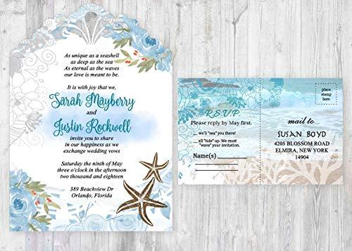 Beach Wedding Invitations Starfish Blue Personalized Set of 50