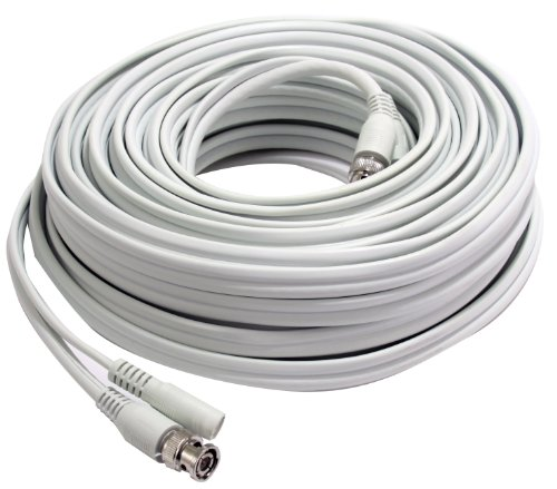 (First Alert BNC-100 100-Feet RG59 Coax Video and DC Power Cable (White))