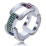 SHINY.U Men's 14K Gold Plated Cluster Lab Diamond ETERNITY Band CZ Bling Square Anchor Link Ring Hip Hop (White Gold, 10)