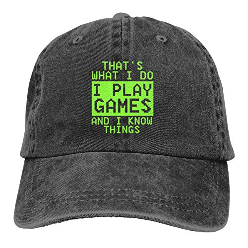 That's What I Do I Play Games and I Know Things Denim Hat Unisex Baseball Hat