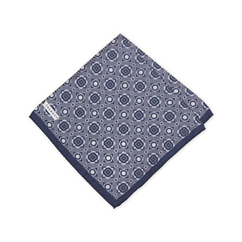 Robert Talbott Grey And Navy Fancy Silk Pocket Square (Pocket Squares Robert Talbott)
