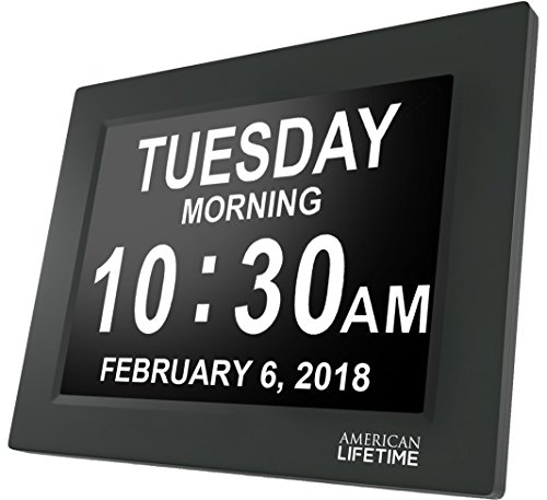 Newest Version  Day Clock   Extra Large Impaired Vision Digital Clock With Battery Backup   5 Alarm Options  Matte Black