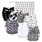 Black & White Baby Cloth Pocket Diapers (7 Pack) with 7 Bamboo Inserts and 1 Wet Bag in Modern Patterns for Boy or Girl by Nora's Nursery