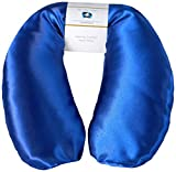 Neck Pain Relief Pillow - Hot/Cold Therapeutic Herbal Pillow For Shoulder & Neck Pain, Stress & Migraine Relief (Sapphire - Silky Satin)