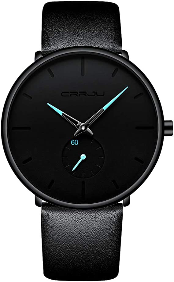 Mens Watch Ultra Thin Wrist Watches for Men Fashion Waterproof Dress Leather Strap