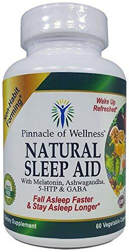 Sleep Wellness Aid - Pinnacle of Wellness All Natural Sleep Aid - Melatonin, Ashwagandha, 5-HTP, GABA and 12 Other Proven Ingredients - Herbal Non-Habit Forming Sleeping Pills (60 Vegan Capsules)