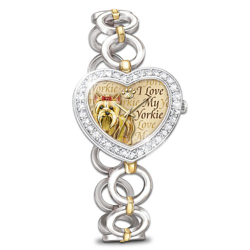 Women's Yorkie Heart Watch Bracelet By The Bradford Exchange