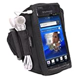 iGadgitz Black Water Resistant Neoprene Sports Gym Jogging Armband for Sony Ericsson Xperia Arc S Android Smartphone Cell Phone
