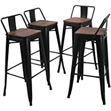 """Tongli Metal Barstools Set Industrial Counter Height Stools(Pack of 4) Patio Dining Chair Black Wooden Seat Low Back 30"""""""