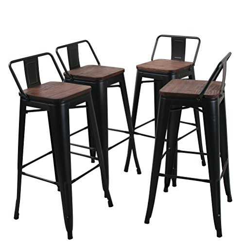 Tongli Metal Barstools Set Industrial Counter Height Stools(Pack of 4) Patio Dining Chair Black Wooden Seat Low Back 30